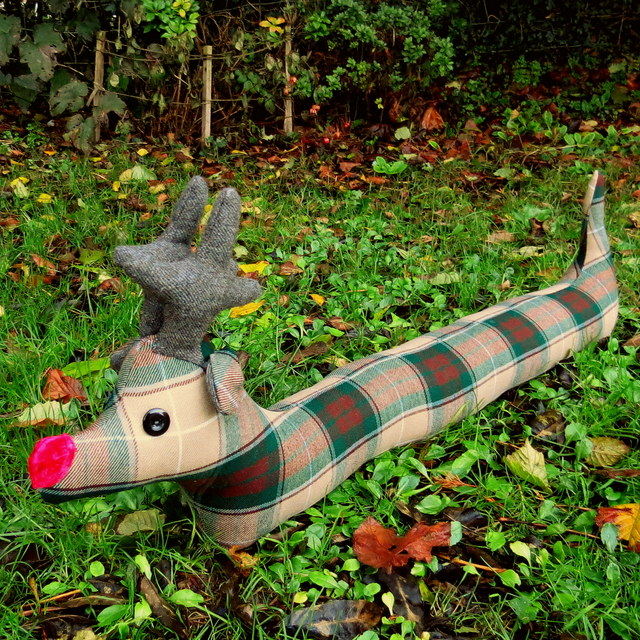 Reindeer draught excluder.  Draft stopper.  Christmas decor.