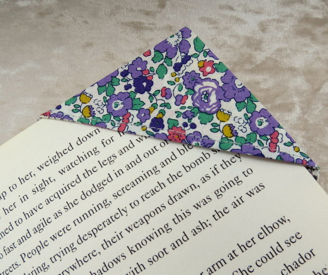 Corner Bookmark.  Page Marker.  A fabric bookmark, made from Liberty Lawn.