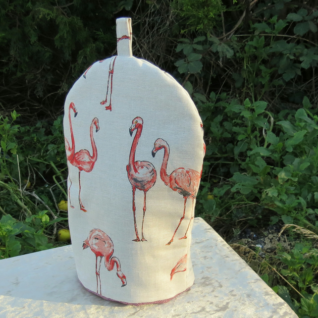 Cafetiere Cosy.  Flamingo design.  Made to fit a 6 - 8 cup cafetiere.