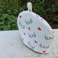 Breast Cancer Awareness.  A tea cosy made to fit a 2 cup teapot.  Small tea cosy