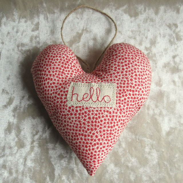 Decorative Heart.  Hello.  A hanging heart made from Liberty Lawn.  Valentine.