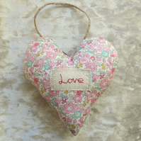 Love.  Decorative Heart.  A hanging heart made from Liberty Lawn.