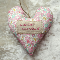 Cancer gift.  Cancer survivor.  A decorative heart made from Liberty Lawn.