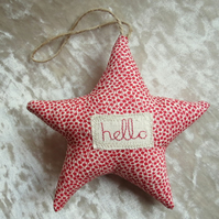 Star door hanger.. Hello Star.  A star made from Liberty Lawn.
