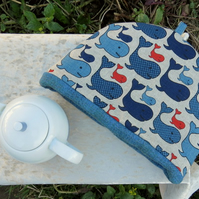 Tea Cosy.  Whales.  A tea cosy made to fit a 5-6 cup teapot.  Nautical decor.