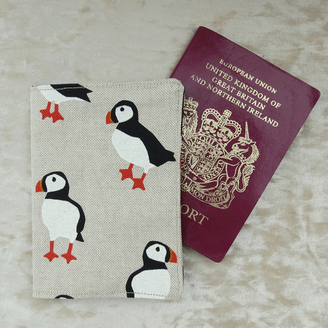 Passport sleeve.  Puffins design.  Passport cover.