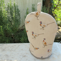 Coffee cosy.  Pheasants.  A coffee cover, made to fit a 2 cup cafetiere.