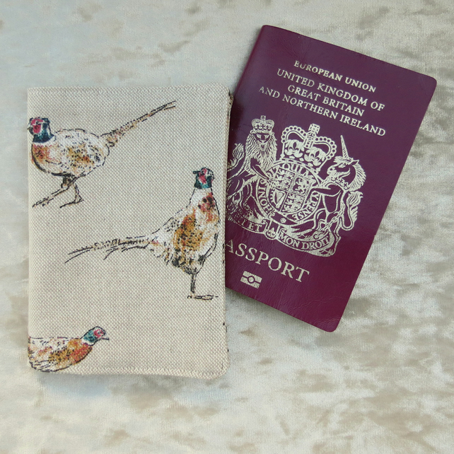 Passport sleeve.  Pheasant design.  Passport cover.