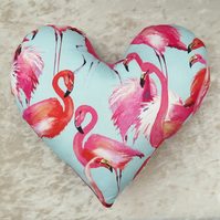 Breast cancer pillow.  A heart pillow with a flamingo design.  Mastectomy gift.