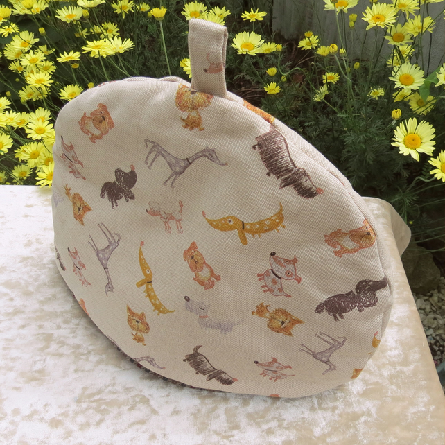 Tea Cosy, size extra large. Made to fit a 5 -6 cup teapot.  Dogs design.