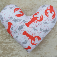 Mastectomy pillow.  Heart pillow.  Lobster design.