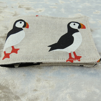 Oyster card cover.  Puffins.  Ticket sleeve.