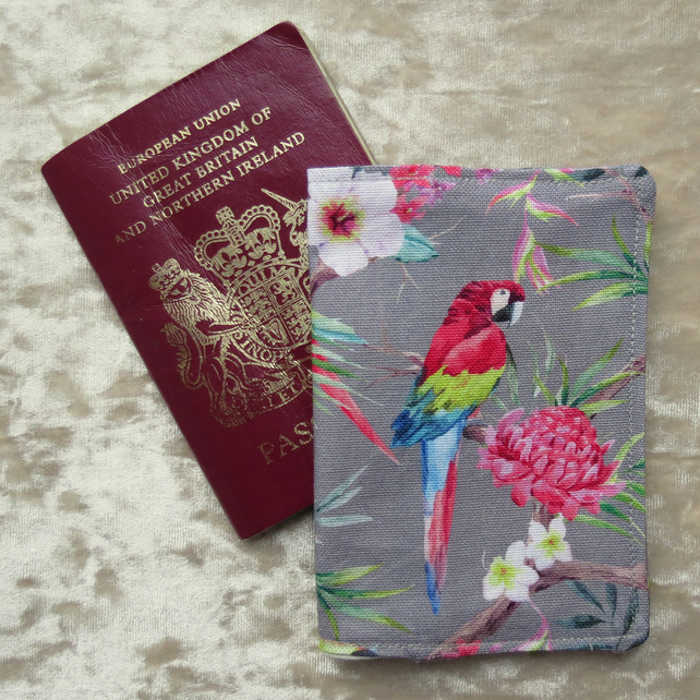 Passport Cover.  Parrots.  Reduced price due to a slightly wonky back pocket!