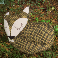 Olive fox doorstop.  Fox decor.