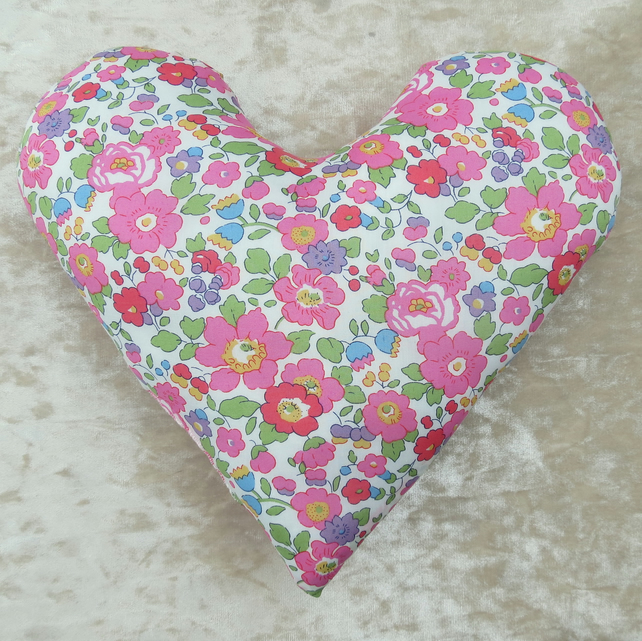Breast Cancer pillow.  Heart pillow.  Made from Liberty Tana Lawn.
