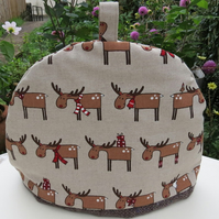 Tea Cosy.  A festive cosy with a reindeer design.  Christmas tea cosy.