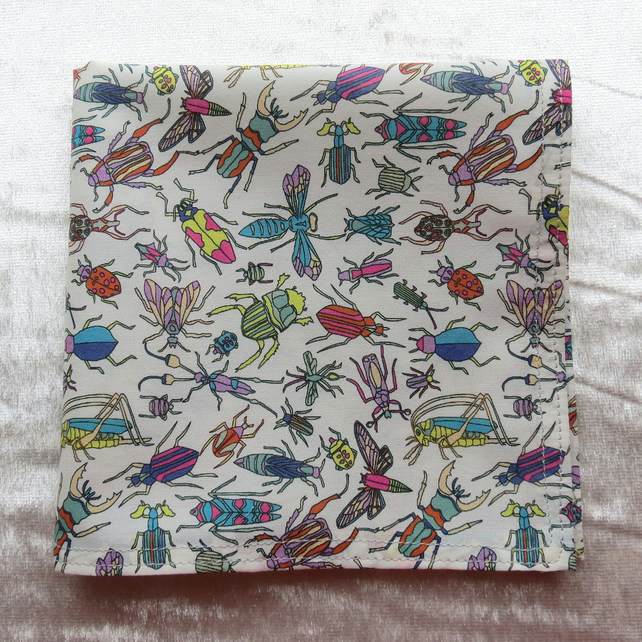 Liberty Lawn handkerchief. Insects design. Cotton handkerchief.