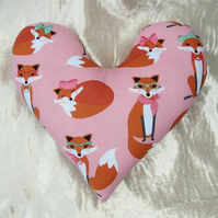 Mastectomy pillow.  Heart pillow.  Fox design.