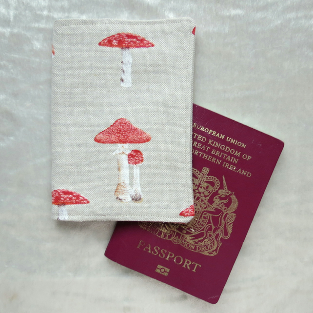 Passport Cover.  Passport sleeve.  Toadstool design.
