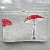 Oyster card sleeve. Ticket cover. Toadstool design.