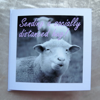 Sending a socially distanced hug. Support card. Sheep card.
