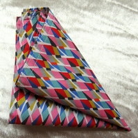Liberty Lawn handkerchief.  Geometric design.  Cotton handkerchief.