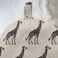 Coffee cosy.  Cafetiere cosy. Made to fit a 2 cup cafetiere.  Giraffes.