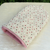 Coffee cosy.  Polka dots.  A coffee cover, made to fit a 2 cup cafetiere.