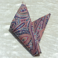 Gents handkerchief.  Paisley handkerchief.  Made from Liberty Lawn.