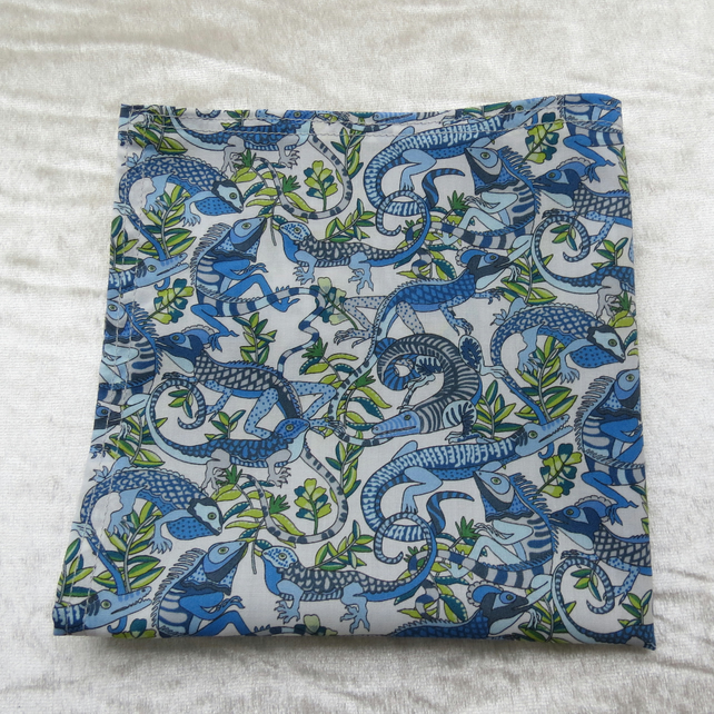Gents handkerchief.  Made from Liberty Lawn.  Geckos and Lizards.