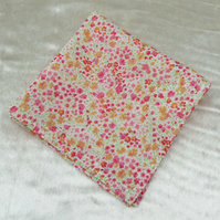 Liberty Lawn handkerchief. Floral design. Cotton handkerchief.