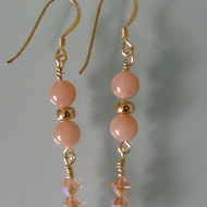 Peach Moonstone earrings on gold vermeil