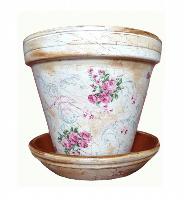 Shabby Chic Rose Vintage Hand Crafted Painted G...
