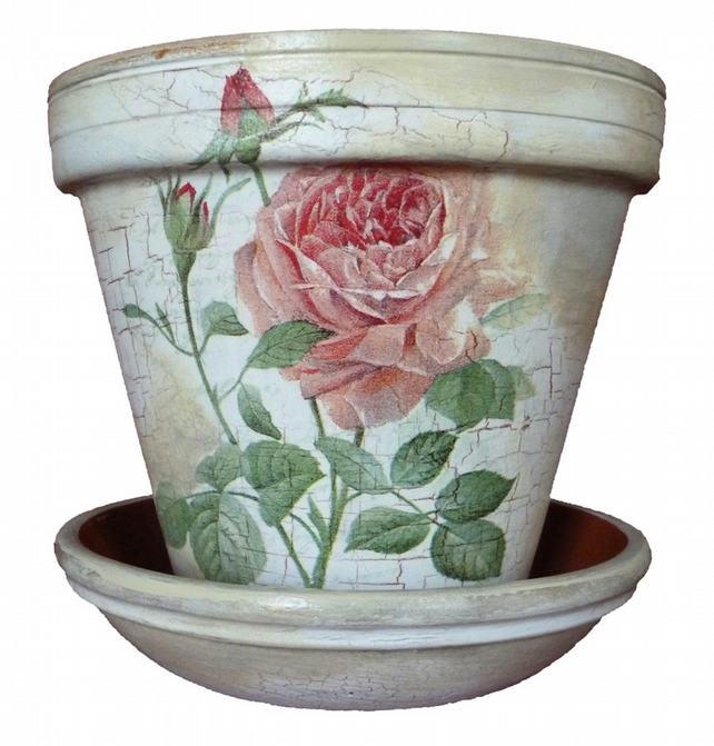 Shabby chic rose vintage hand crafted painted gift flower pot