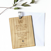 Personalised Father of the Bride Gift, Wedding Gift for Dad, Wooden Card