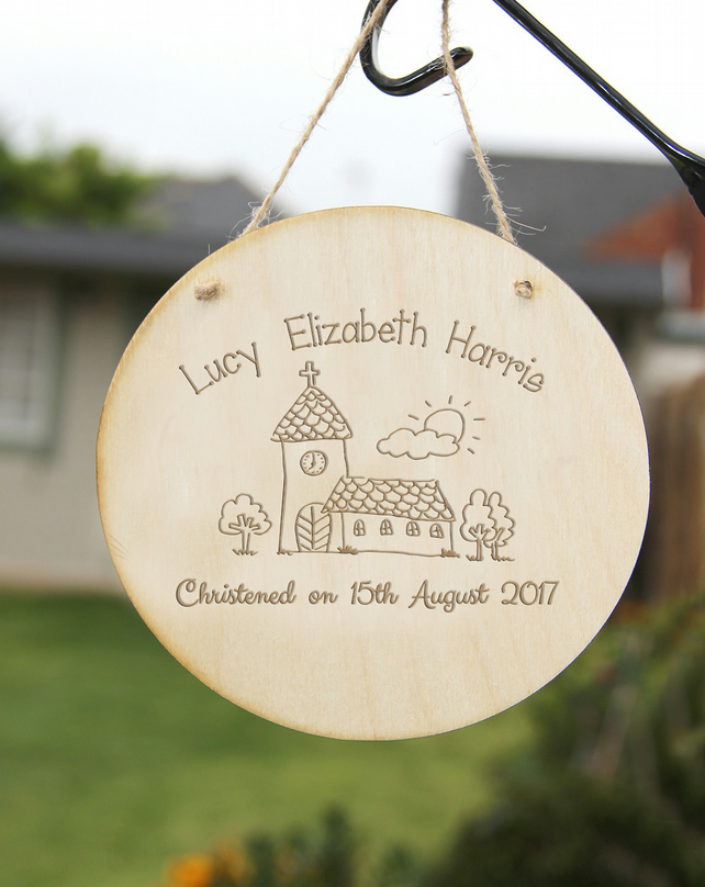Personalised Christening Wall Sign Keepsake, Christening Gift