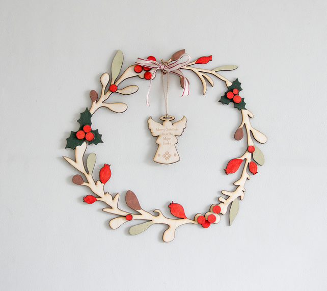 Personalised Wooden Christmas Wreath, Laser cut & Hand Painted, LIMITED STOCK