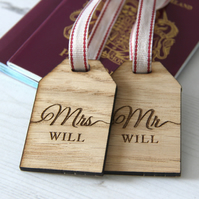 Personalised Mr & Mrs Luggage Tags, Wedding Gift, Wooden Luggage Tags