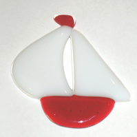 Red Fused Glass Sail Boat