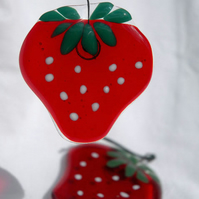 Yummy Fused Glass Strawberry