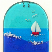 Out in the Bay - Small Fused Glass Hanging Panel
