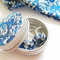 Liberty London custom fabric button cuff links in a matching gift tin. Blues.