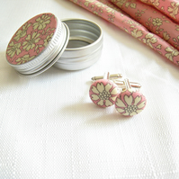 Bespoke Wedding Cuff Links. Liberty London fabric in matching tiny tin. Pinks.
