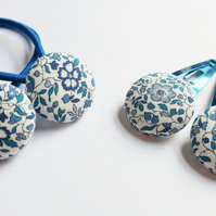 Hair Clips and Hair Bobbles Set Liberty of London fabric. Choose fabric. Blues.