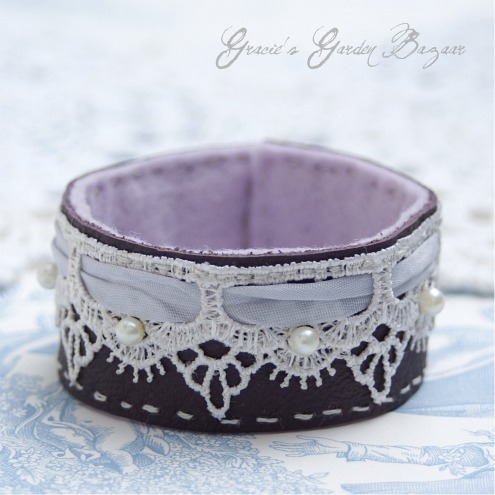 Plum Leather and Lace Cuff