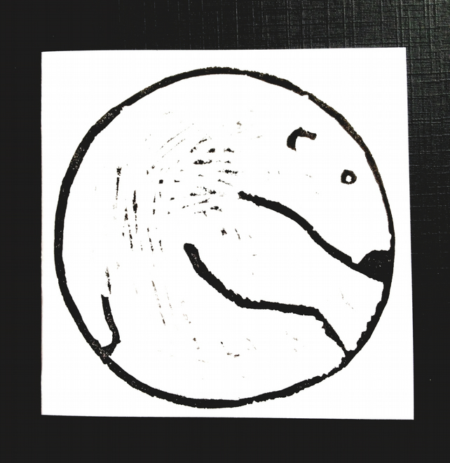 Lino Print Card - Polar Bear - Blank