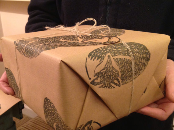 Stunning Hand Printed Gift Wrap.  Fox.  2 Matching Gift Tags.  50 X 70 cm. Black