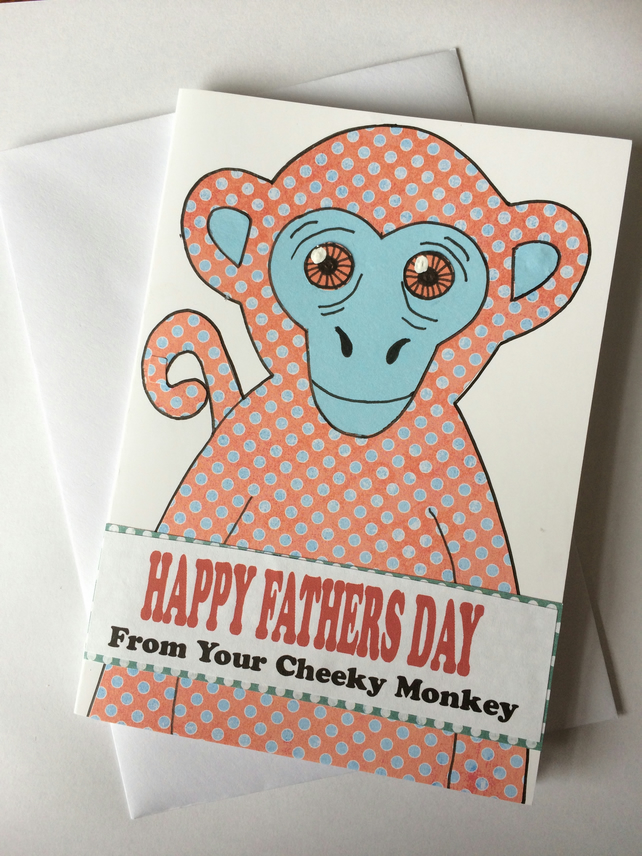 Handmade collaged Fathers Day Card . Cheeky Monkey