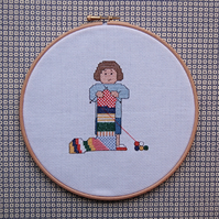 Knitting Fan cross stitch kit