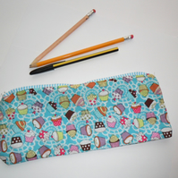 Blue cupcake design pencil case